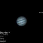 Jupiter mit zwei seiner galileischen Monde Ganymed und Io.